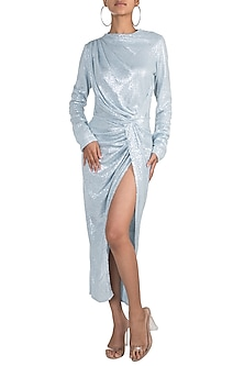 Blue Full Sleeves Sequins Dress by Deme by Gabriella
