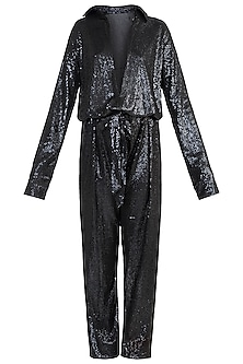 Black Sequins Jumpsuit by Deme by Gabriella