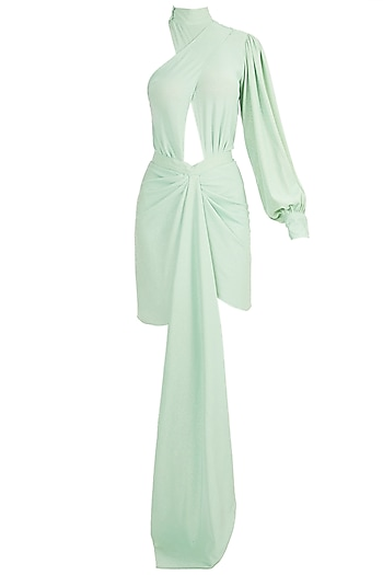 Mint Crossover Shimmer Dress by Deme by Gabriella