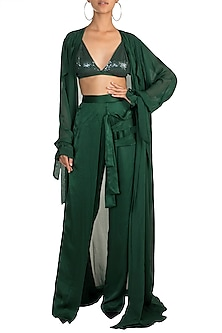 Green Sequins Bralette With Pants & Cape by Deme by Gabriella