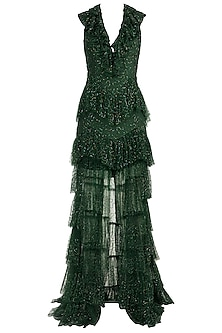 Green Embellished Ruffled Gown by Deme by Gabriella