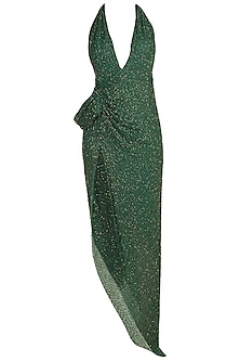 Green Beaded Chiffon Dress by Deme by Gabriella