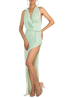 Mint Shimmery Hood Dress by Deme by Gabriella