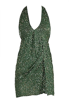 Green Beaded Mini Dress by Deme by Gabriella