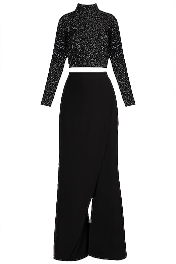 Black Beaded Top With Pants by Deme by Gabriella