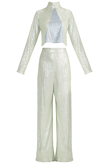 Mint Sequins High Neck Top With Pants by Deme by Gabriella