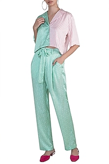 Mint Green Printed Shirt With Pants by Deme by Gabriella