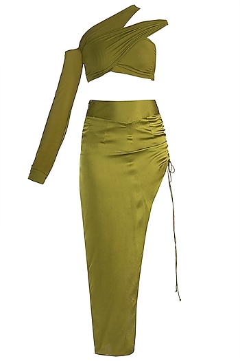 Olive Green Top With Skirt by Deme by Gabriella