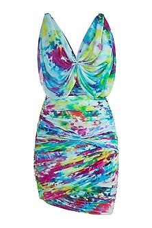 Multi Colored Tie-Dye Mini Dress by Deme by Gabriella