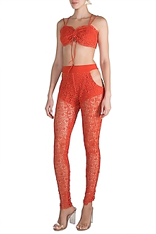 Orange Crochet Crop Top With Pants by Deme by Gabriella