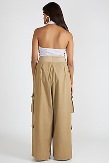 Beige High Waisted Palazzo Pants by Deme By Gabriella