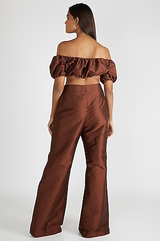 Brown High Waisted Pants by Deme By Gabriella