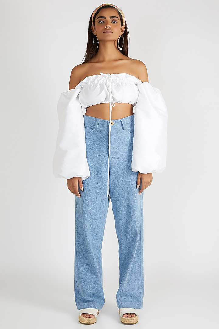 White Top With Puffed Sleeves by Deme By Gabriella