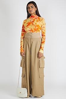 Orange Tie-Dye High Neck Top by Deme By Gabriella