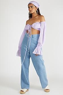 Purple Off Shoulder Crop Top by Deme By Gabriella