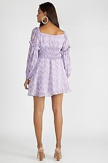 Lilac Ruched & Printed Mini Dress by Deme By Gabriella