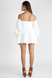 White Off Shoulder Corset Dress by Deme By Gabriella