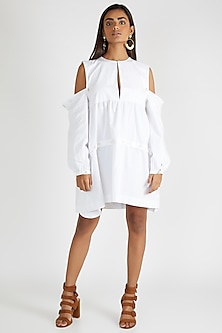 White Mini Dress With Detachable Sleeves by Deme By Gabriella
