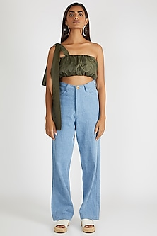 Olive Green Tube Crop Top by Deme By Gabriella