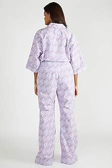 Lilac Paisley Printed Pants by Deme By Gabriella