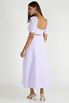 Lilac Crop Top With Puffed Sleeves by Deme By Gabriella