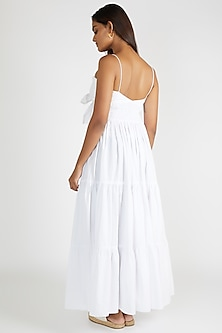 White Tiered Maxi Dress With Tie-Up by Deme By Gabriella