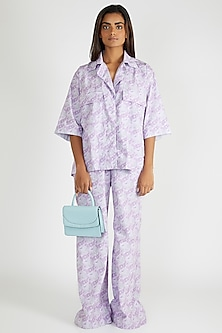 Lilac Paisley Printed Shirt by Deme By Gabriella