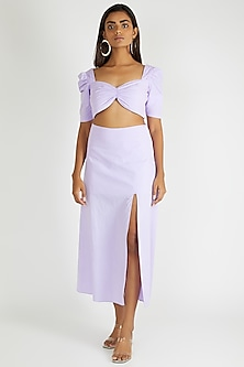 Lilac Cotton Midi Skirt by Deme By Gabriella