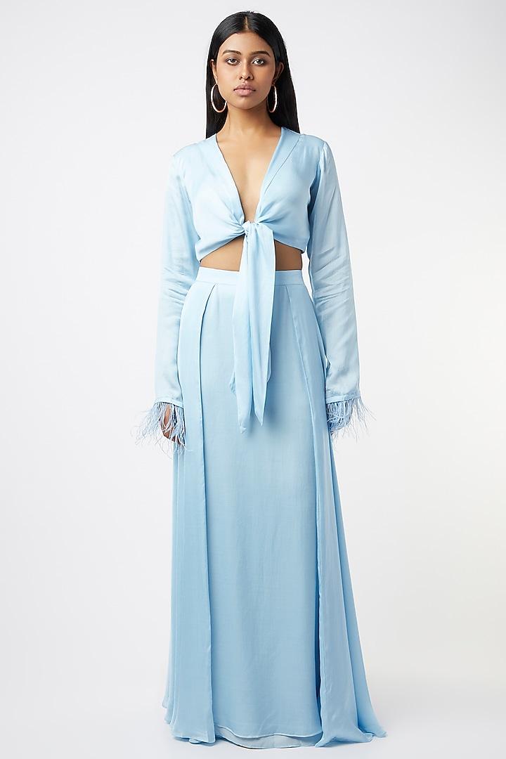 Light Blue Satin Skirt Set by Deme by Gabriella