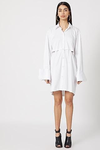 White Detachable Shirt Dress by Deme by Gabriella