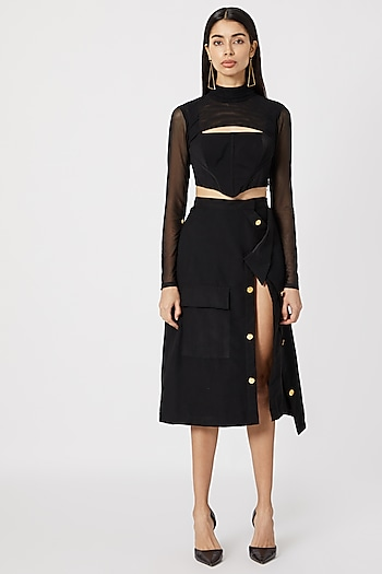 Black Cropped Top With Skirt by Deme by Gabriella