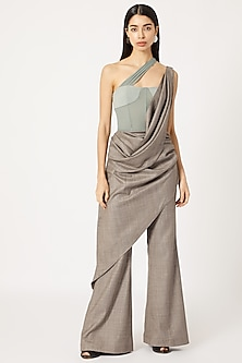 Grey & Teal Corset Jumpsuit by Deme by Gabriella