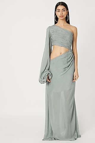 Sky Blue One Shoulder Gown With Cutout by Deme by Gabriella