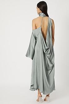 Teal Blue One Shoulder Cowl Dress by Deme by Gabriella