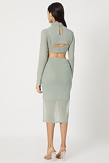 Teal Blue Bodycon Skirt With Cropped Top & Corset by Deme by Gabriella