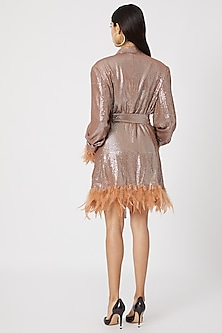 Nude Blazer Dress With Belt by Deme by Gabriella
