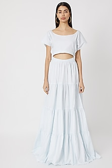 Pale Blue Tiered Gown by Deme by Gabriella