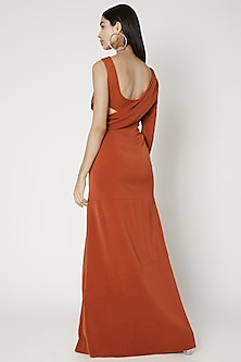 Rust Orange Cowl Gown by Deme by Gabriella