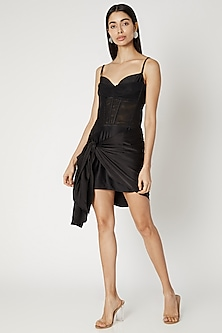 Black Net & Satin Corset Dress by Deme by Gabriella