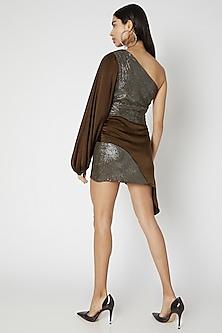 Brown Sequins Satin Dress by Deme by Gabriella