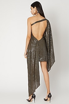 Olive Green Sequins Draped Dress by Deme by Gabriella