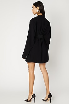 Black Micro Fabric Oversized Blazer by Deme by Gabriella