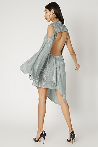 Pale Blue Sequins Mini Dress by Deme by Gabriella