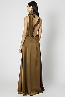 Olive Green One Shoulder Gown by Deme by Gabriella