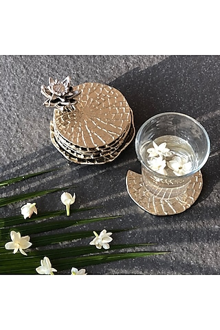 Gold Aluminum Coaster Set (Set of 6) by Mason Home