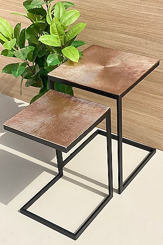 Rose Gold Iron Ghana Square Tables (Set of 2) by Mason Home