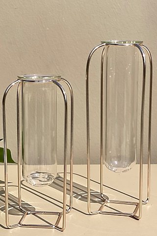 Rose Gold Metal Test Tube Planters (Set of 2) by Mason Home