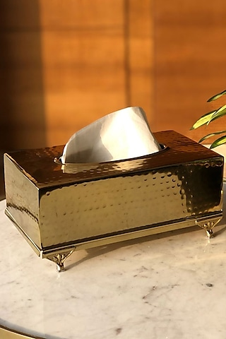 Gold Finish Rectangle Safi Tissue Box by Mason Home