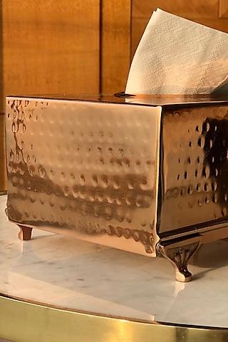 Rose Gold Finish Rectangle Safi Tissue Box by Mason Home