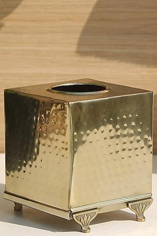 Gold Finish Square Safi Tissue Box by Mason Home